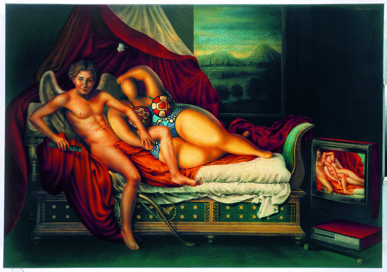 -The Great Painted Video Installation (Amor and Psyche)- 1996 Acryl on Canvas